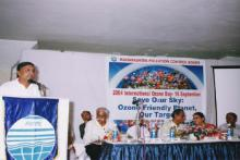 International Day for Presevation of Ozone Layer celebrated by M.P.C.B. on 16th Sept.2004 Dr.D.B.Boralkar, M.S. expressing his views on Ozone Layer depletion.(From left : Shri C.A.Deshmukh, Deputy Secretary, Environment Dept.,GoM., Shri V.N.Warhade, Director, Environment Dept., GoM, Prof. Rasmi Patil, IIT,Powai.